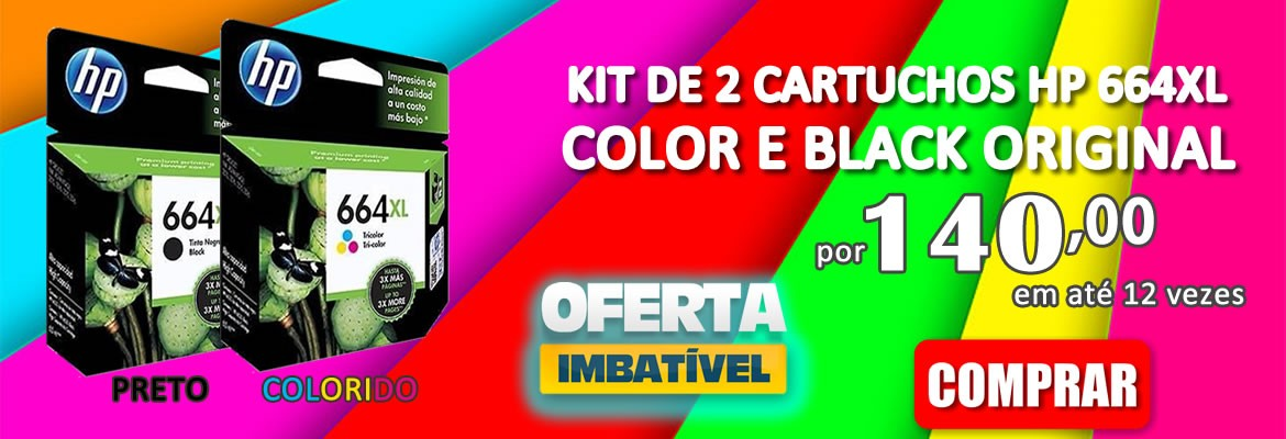 KIT DE 2 CARTUCHO HP 664XL COLOR E BLACK ORIGINAL
