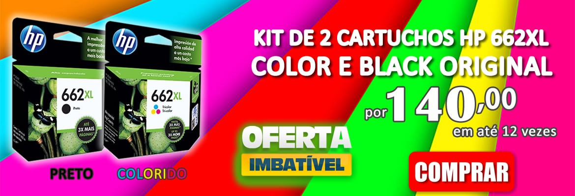 KIT DE 2 CARTUCHO HP 662XL COLOR E BLACK ORIGINAL