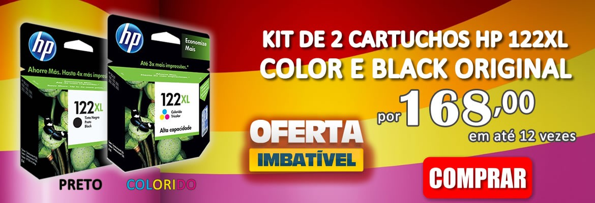 KIT DE 2 CARTUCHO HP 122XL COLOR E BLACK ORIGINAL