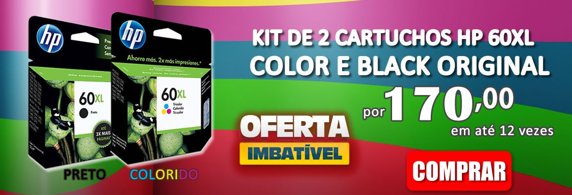 KIT DE 2 CARTUCHO HP 60XL COLOR E BLACK ORIGINAL